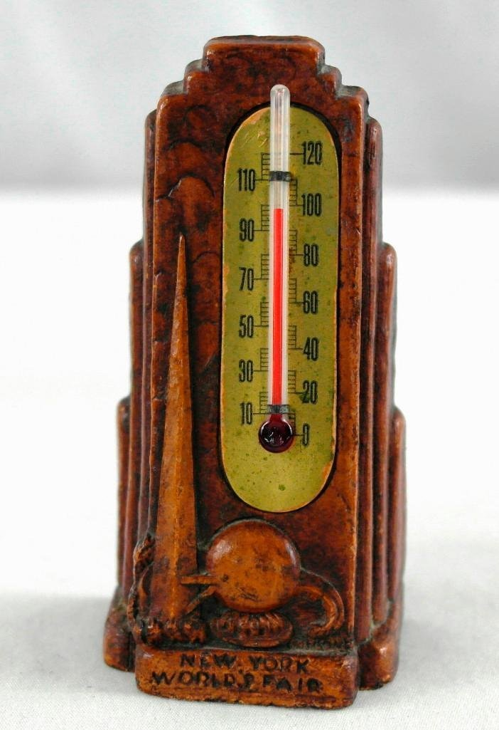 2 New York World's Fair Souvenir Thermometers - 5