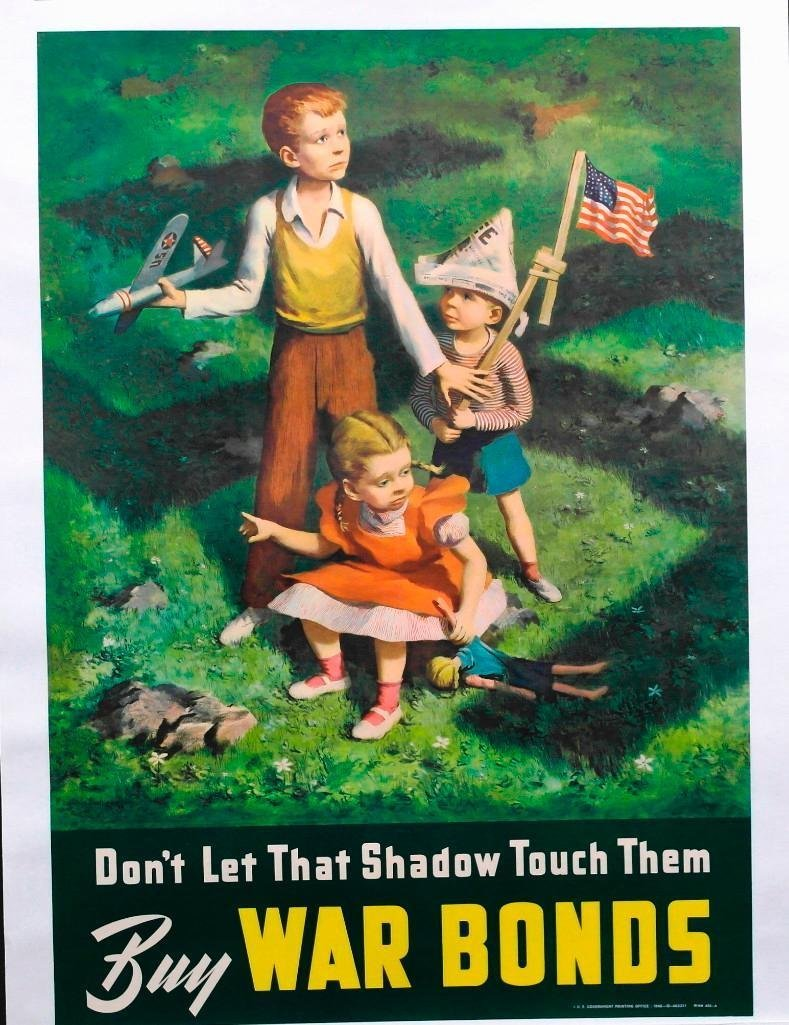 """""""Don't Let The Shadow Touch Them"""" Buy War Bonds WWII"""