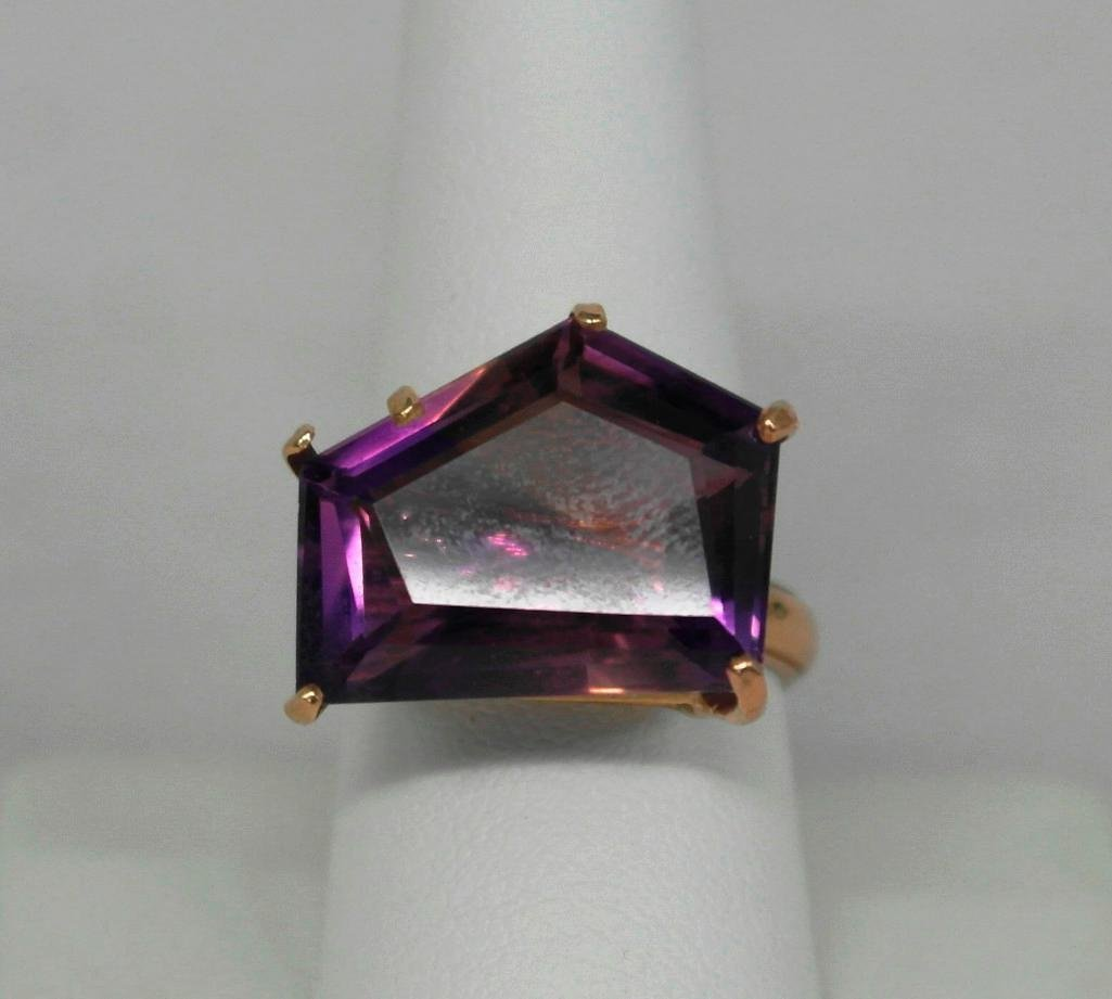Amythest And 14K Gold Ring