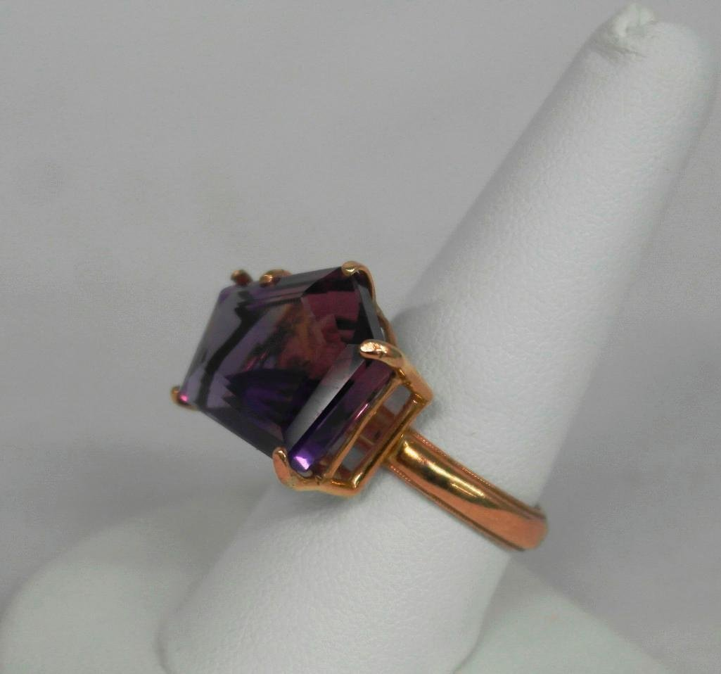 Amythest And 14K Gold Ring - 2