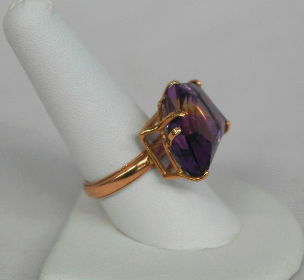 Amythest And 14K Gold Ring - 3