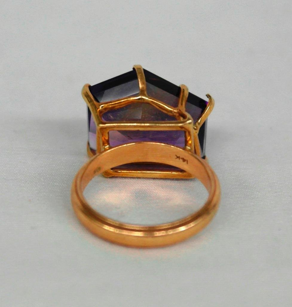Amythest And 14K Gold Ring - 4