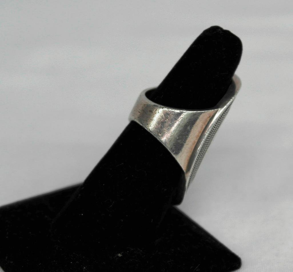 Large Sterling Silver Ring - 6