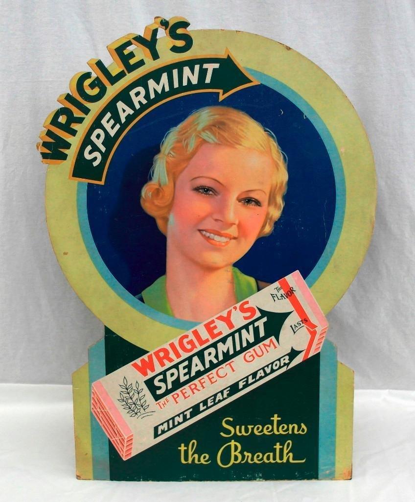 Wrigley's Spearmint Gum Die Cut Cardboard Sign
