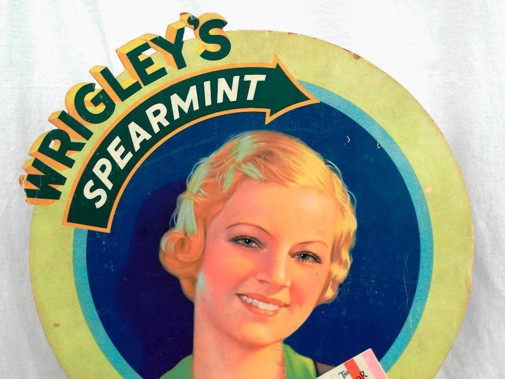Wrigley's Spearmint Gum Die Cut Cardboard Sign - 2
