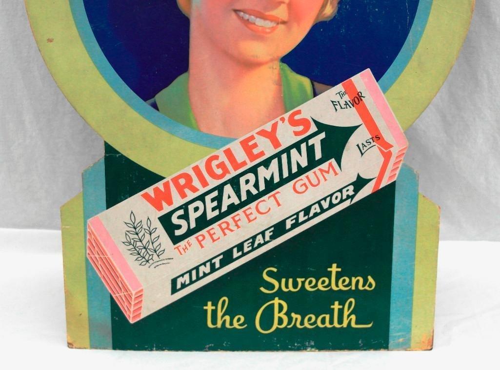 Wrigley's Spearmint Gum Die Cut Cardboard Sign - 4