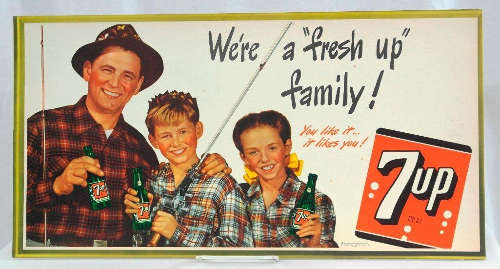 7-Up Trolley Sign Featuring Fisherman Father & Children