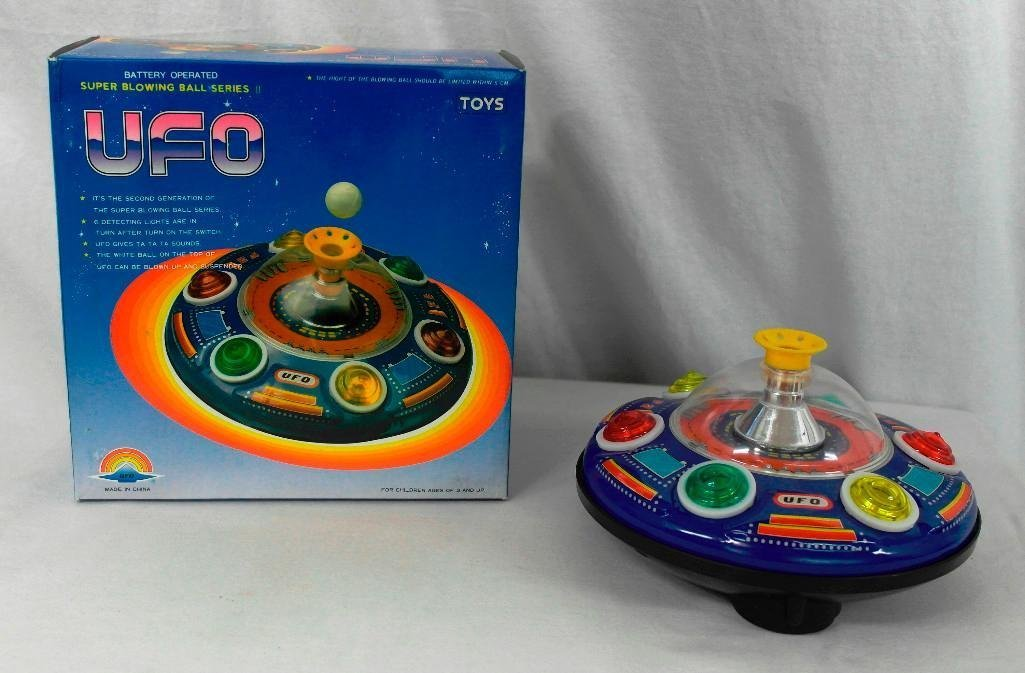 UFO Tin Litho Toy - Super Blowing Ball Series II