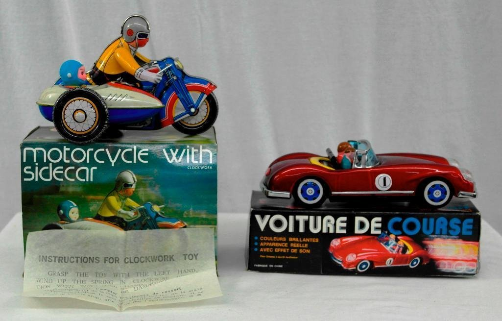 2 Vintage Toys - Motorcycle And Friction Racing Car