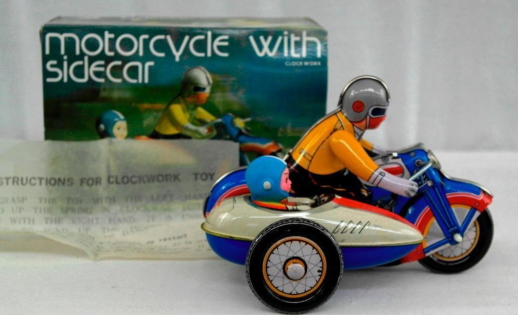 2 Vintage Toys - Motorcycle And Friction Racing Car - 2