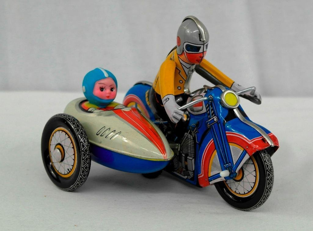 2 Vintage Toys - Motorcycle And Friction Racing Car - 3