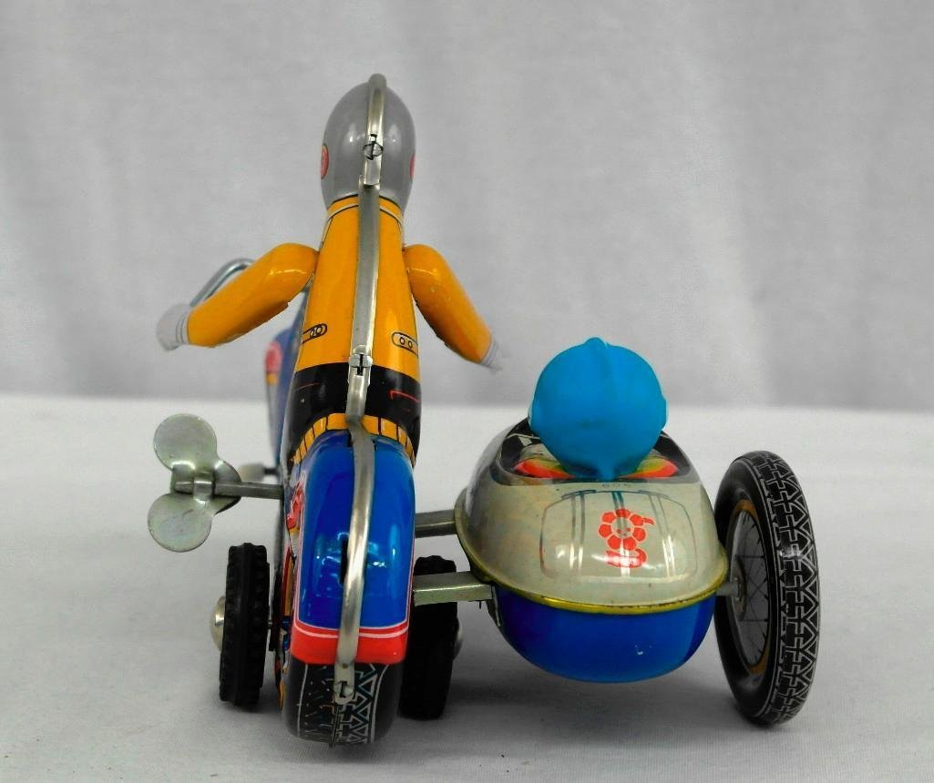 2 Vintage Toys - Motorcycle And Friction Racing Car - 5