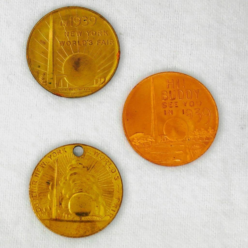 3 New York World's Fair Copper And Brass Coins