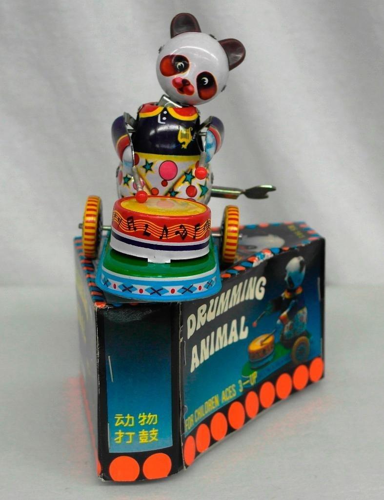 Drumming Animal Tin Litho Wind-Up Toy - Panda Bear