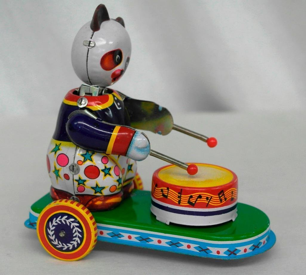Drumming Animal Tin Litho Wind-Up Toy - Panda Bear - 2