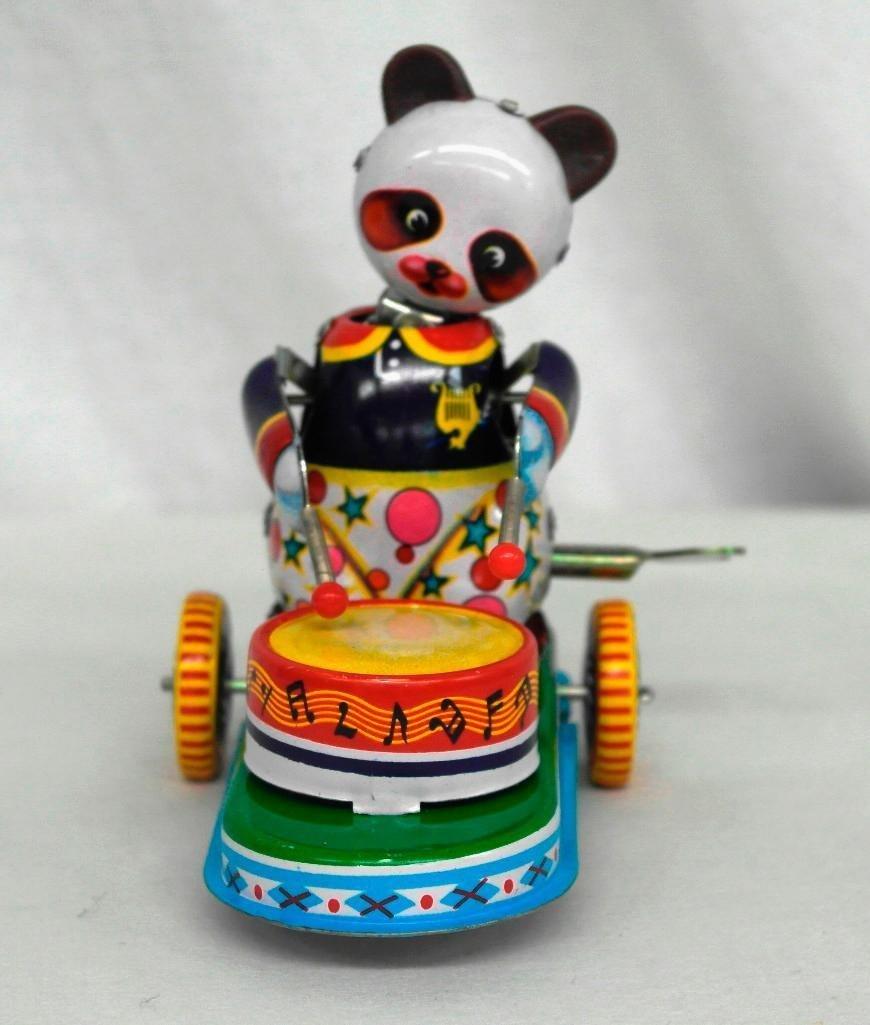 Drumming Animal Tin Litho Wind-Up Toy - Panda Bear - 3