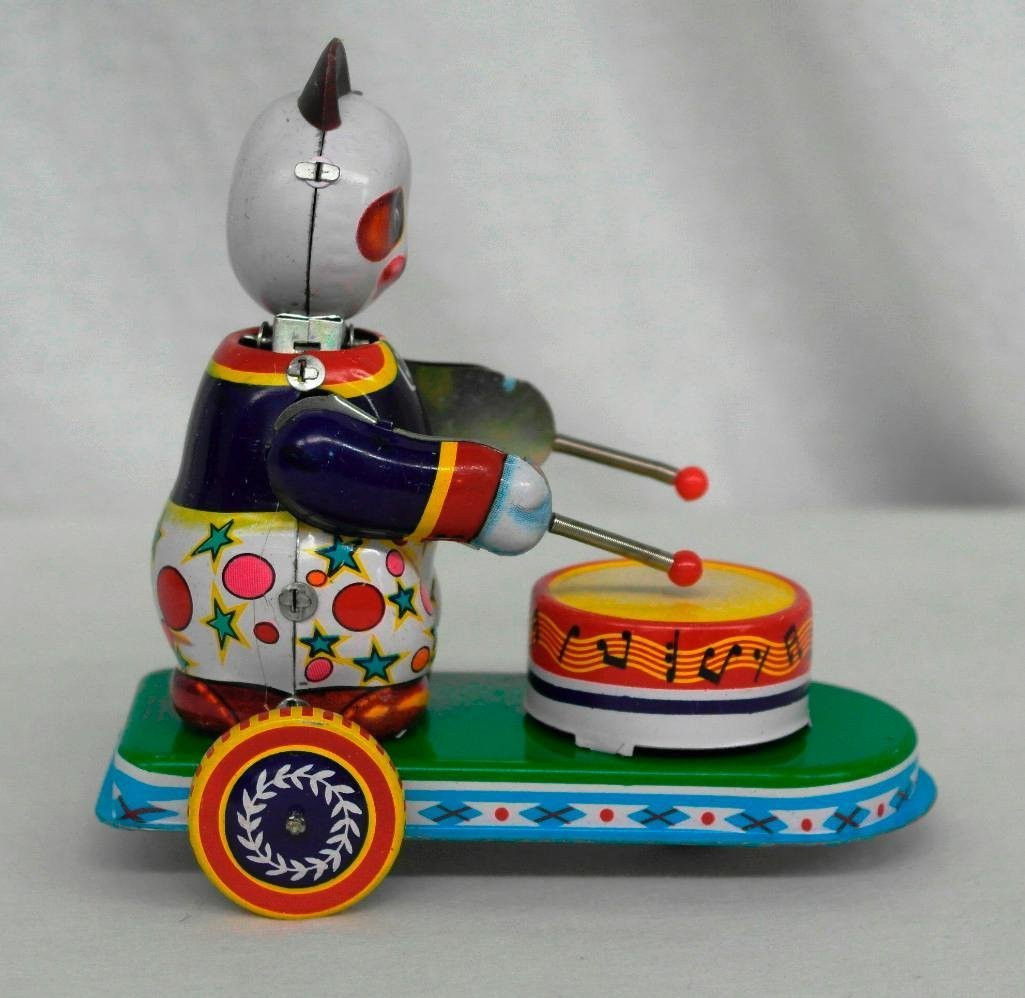 Drumming Animal Tin Litho Wind-Up Toy - Panda Bear - 4
