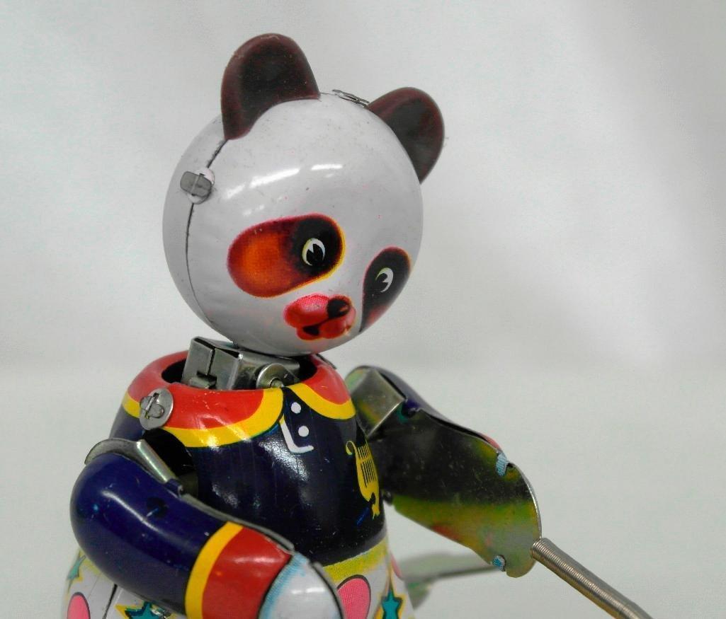 Drumming Animal Tin Litho Wind-Up Toy - Panda Bear - 5