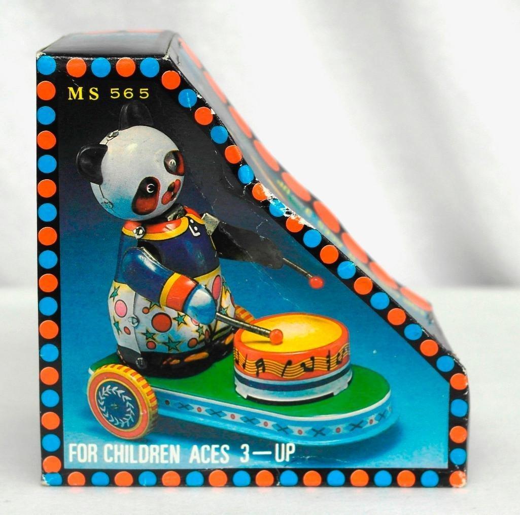 Drumming Animal Tin Litho Wind-Up Toy - Panda Bear - 6