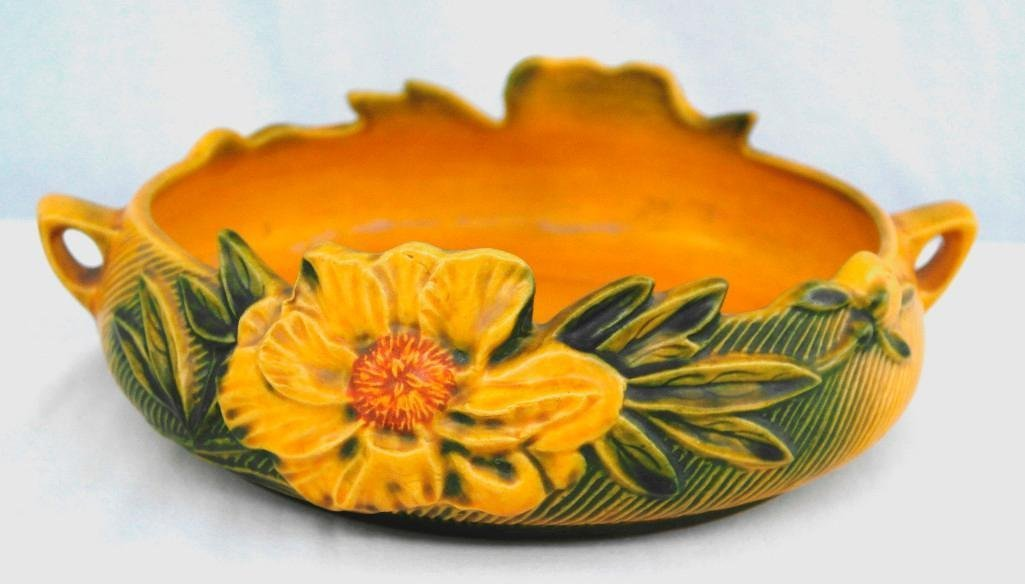 Roseville Peony Console Bowl - 3
