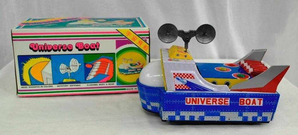 "Vintage Tin Litho Toy ""Universe Boat"""