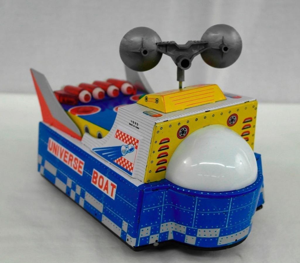 "Vintage Tin Litho Toy ""Universe Boat"" - 3"