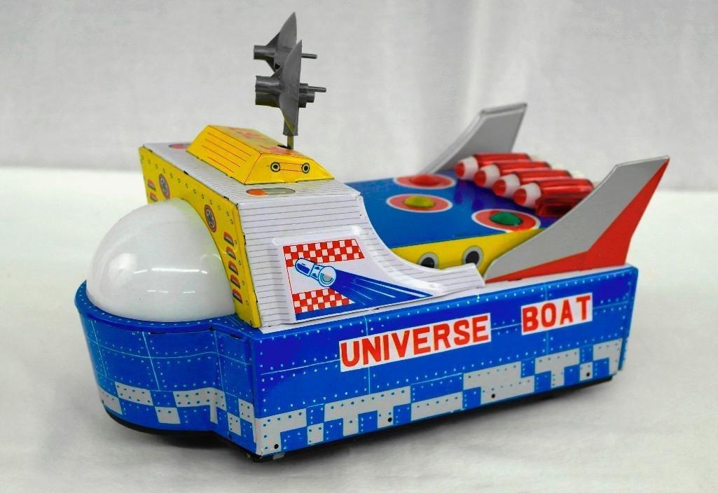 "Vintage Tin Litho Toy ""Universe Boat"" - 4"