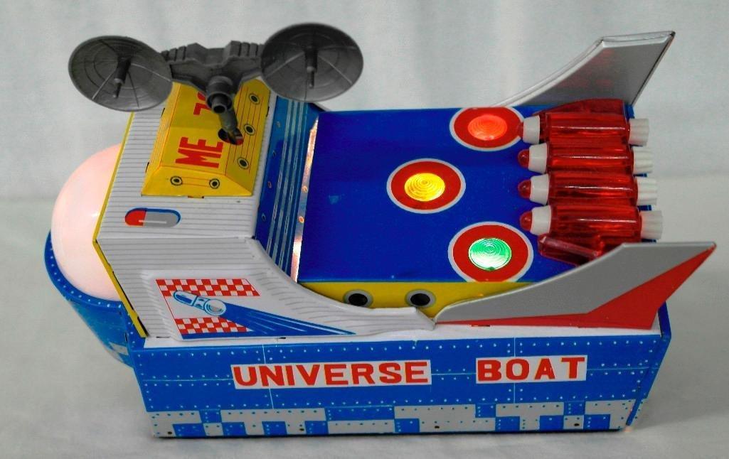 "Vintage Tin Litho Toy ""Universe Boat"" - 7"