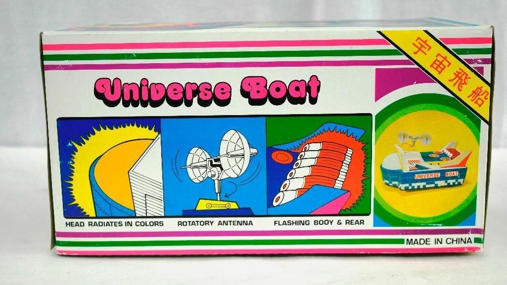 "Vintage Tin Litho Toy ""Universe Boat"" - 8"