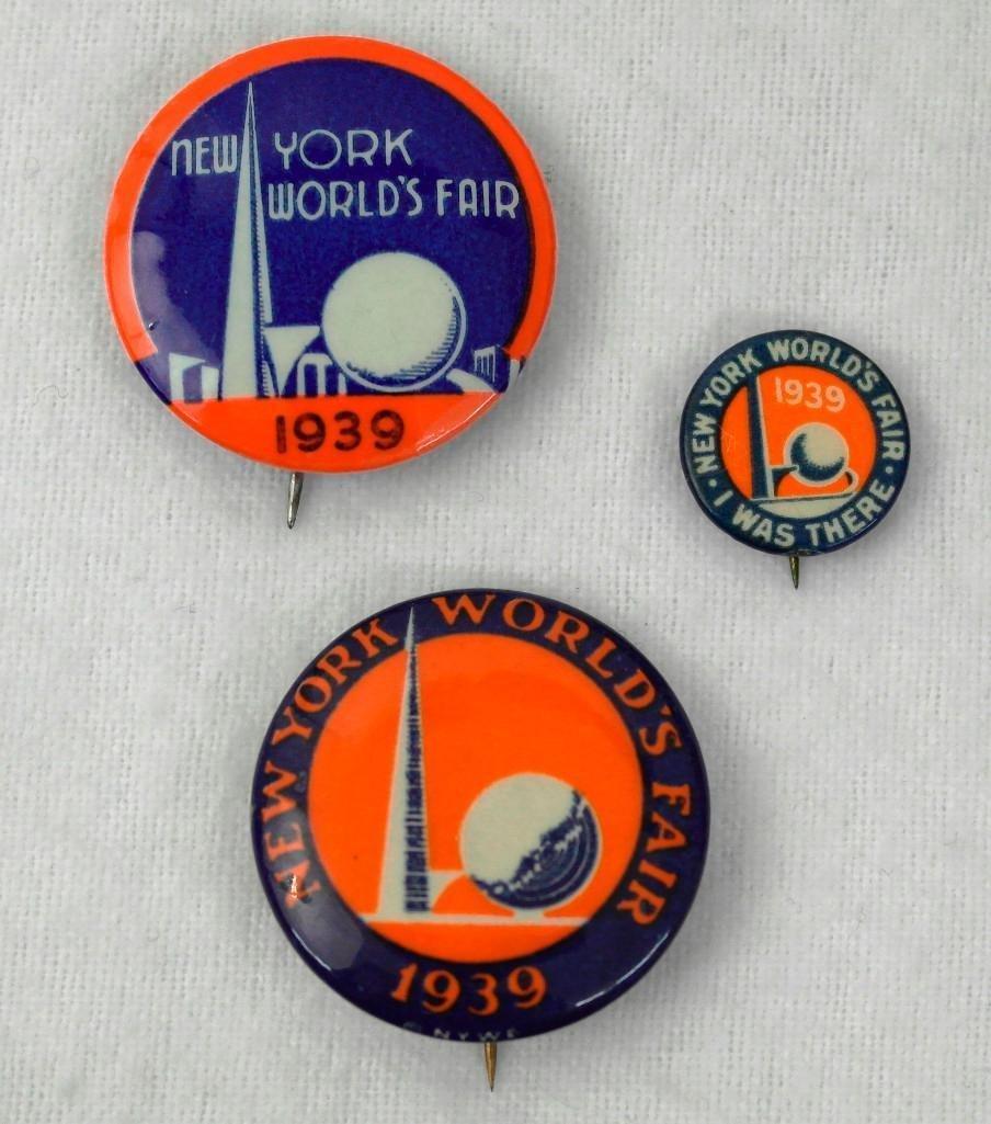 3 New York World's Fair Celluloid Pinbacks