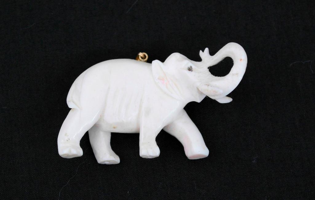 Vintage Carved Ivory Elephant Pendant