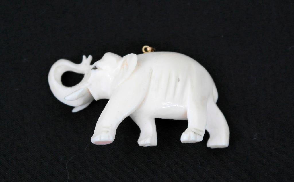 Vintage Carved Ivory Elephant Pendant - 2