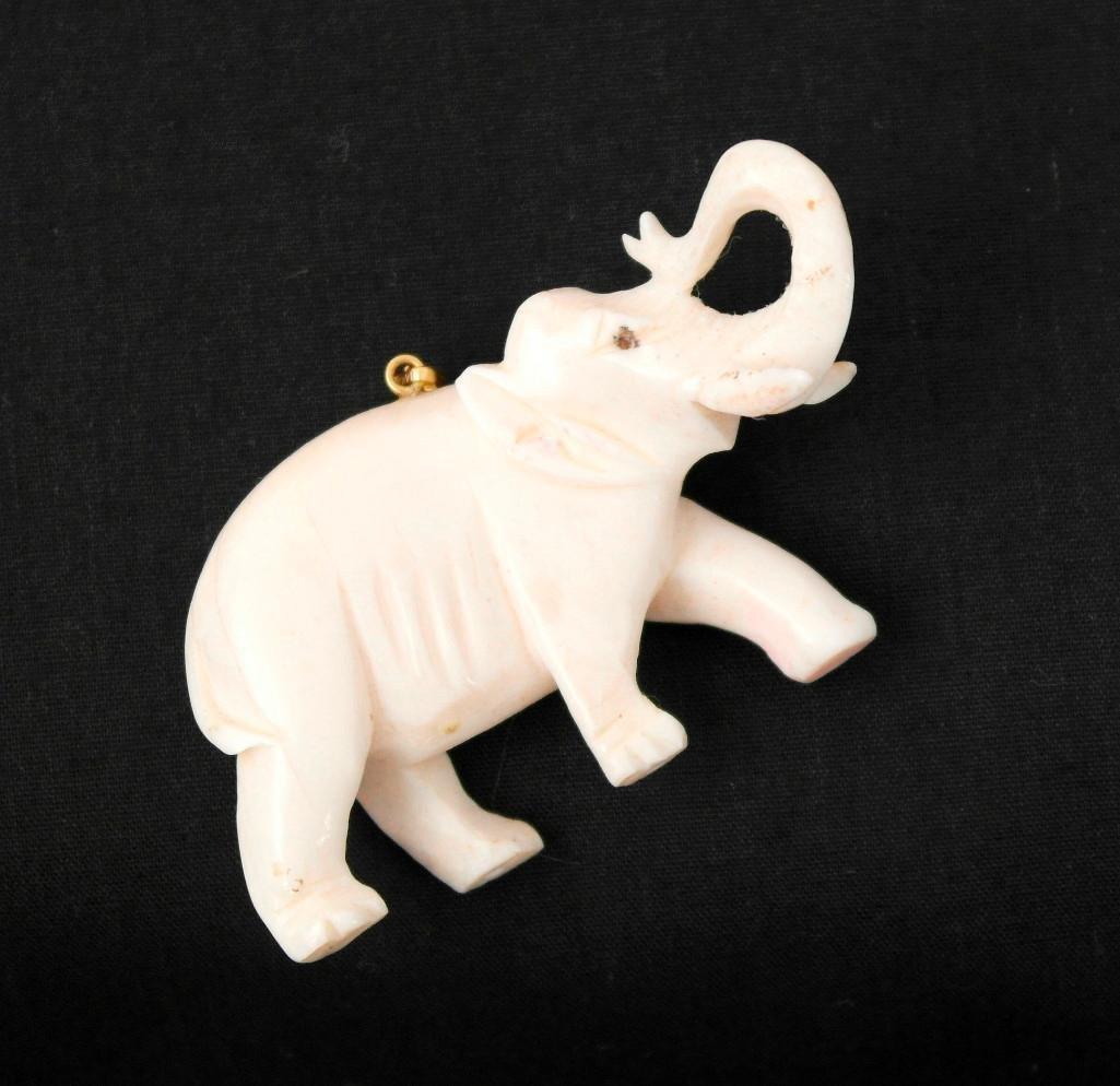 Vintage Carved Ivory Elephant Pendant - 4