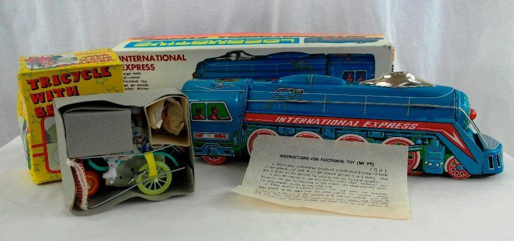2 Tin litho Toys - International Express Locomotive And