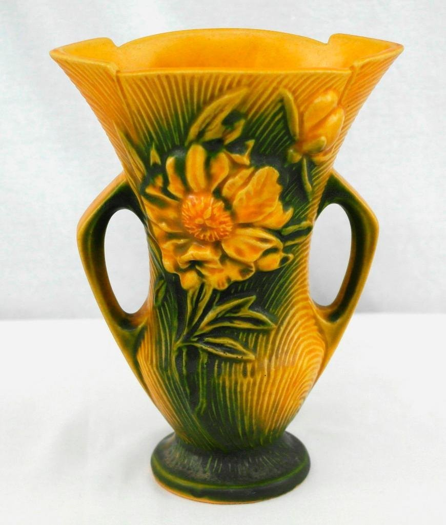 Roseville Pottery Double Handled Peony Vase