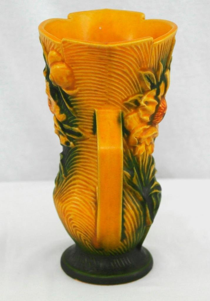 Roseville Pottery Double Handled Peony Vase - 2