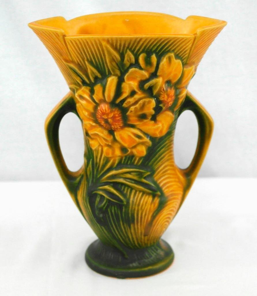 Roseville Pottery Double Handled Peony Vase - 3