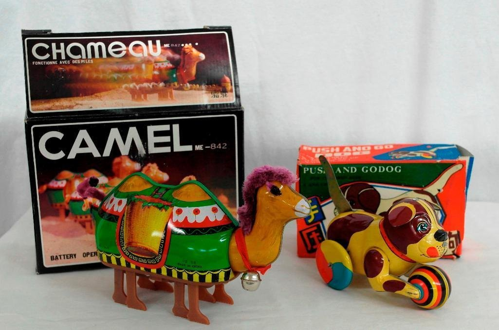2 Tin Litho Toys - Two-Humped Camel And A 'Push And Go