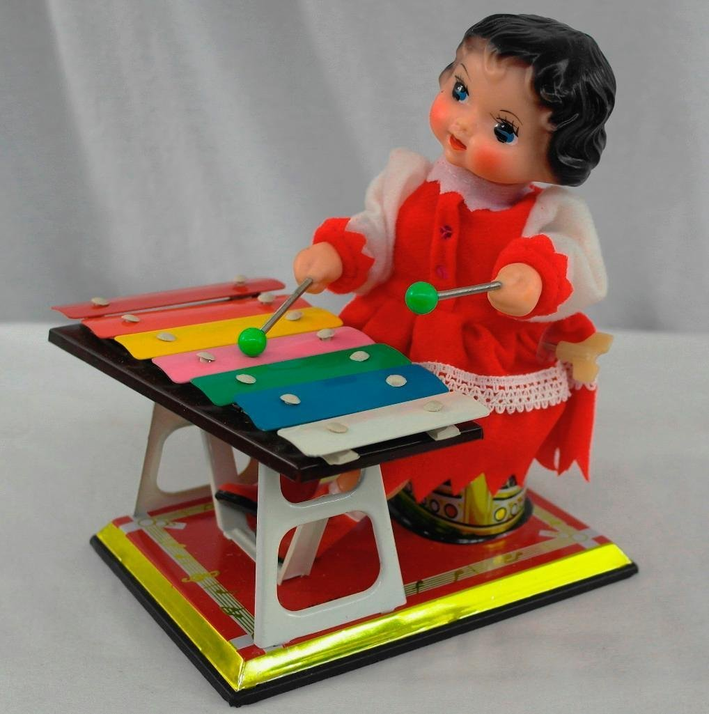 Little Performer Tin Litho Toy With Wind-Up Xylophone - 2