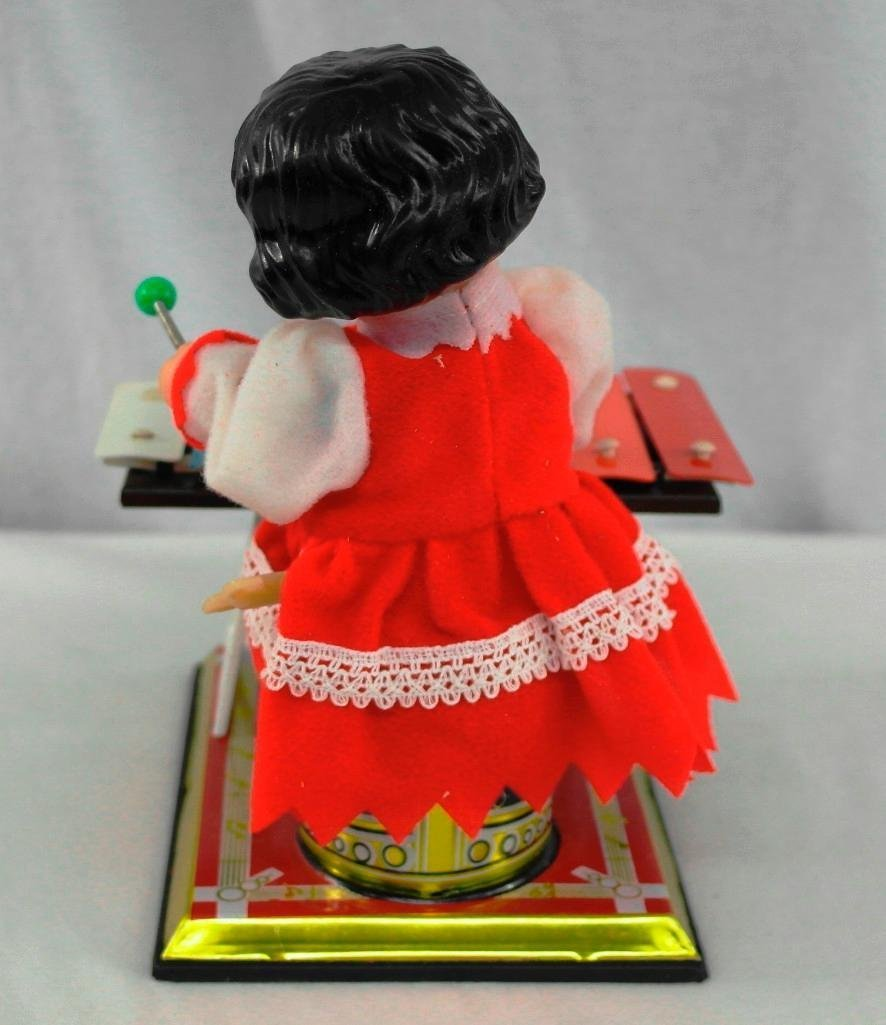 Little Performer Tin Litho Toy With Wind-Up Xylophone - 3