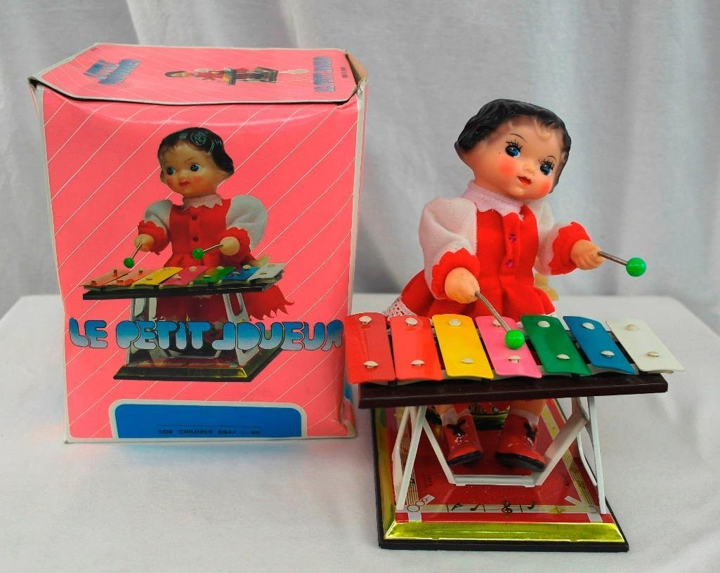 Little Performer Tin Litho Toy With Wind-Up Xylophone - 5
