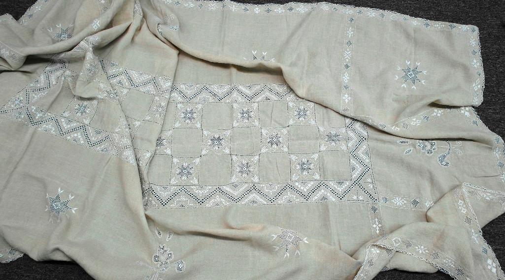 1930's Linen Handworked Table Cover - 5