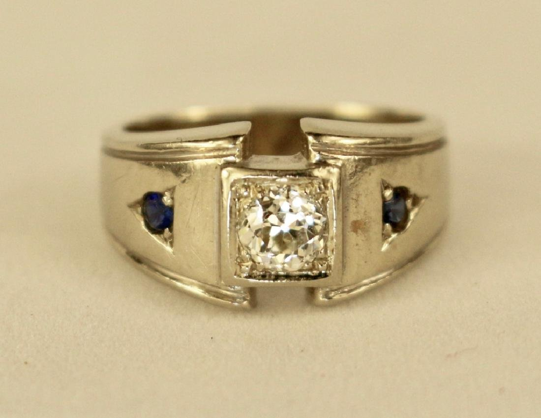 14K Gold, Diamond and Sapphire Man's Ring