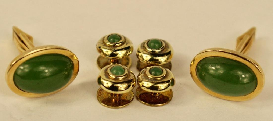 14K Gold and Jade Tuxedo Set