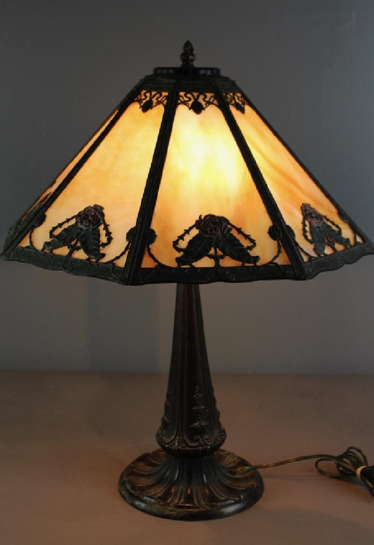 Vintage Slag Glass Overlay Table Lamp