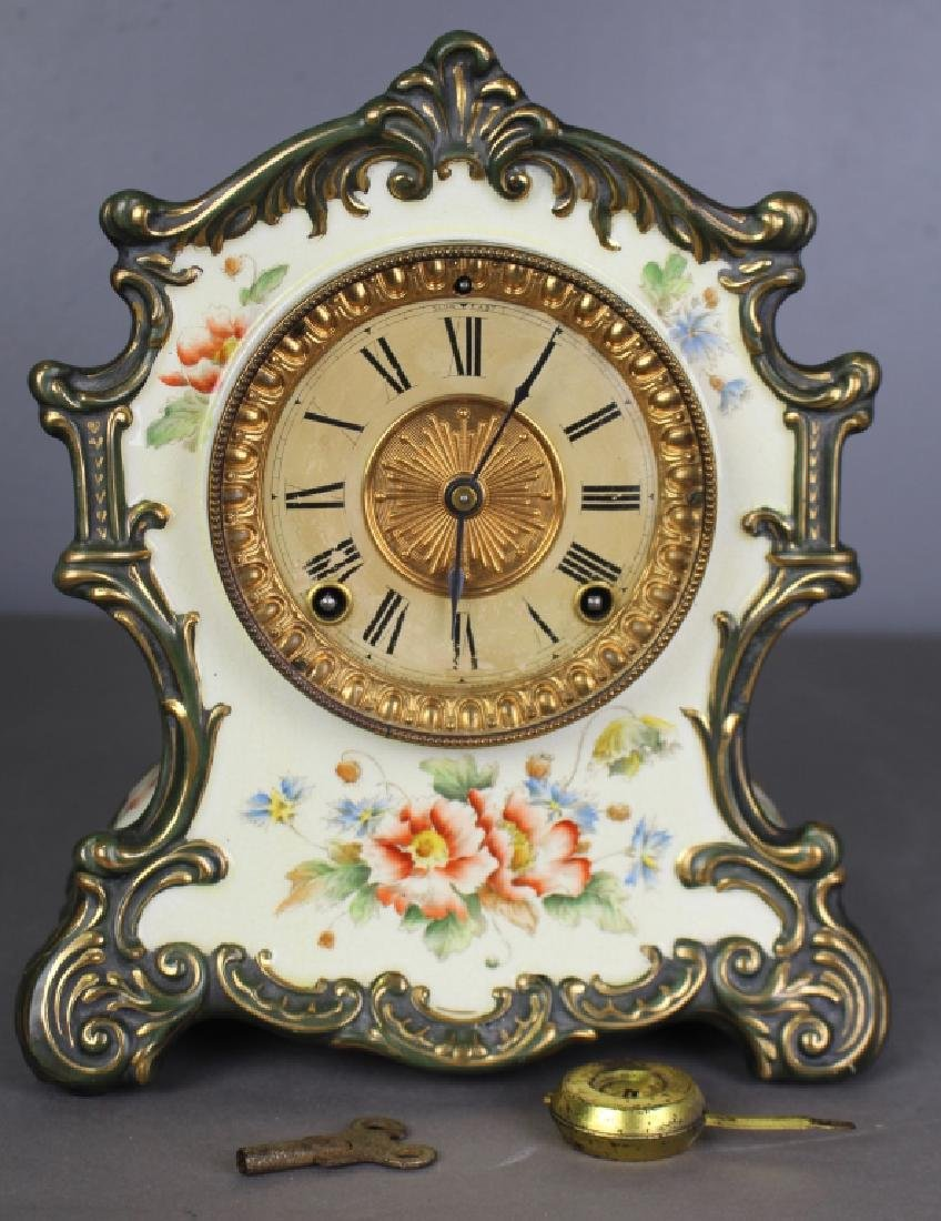 "Ansonia Porcelain Case Clock ""Tehama"""