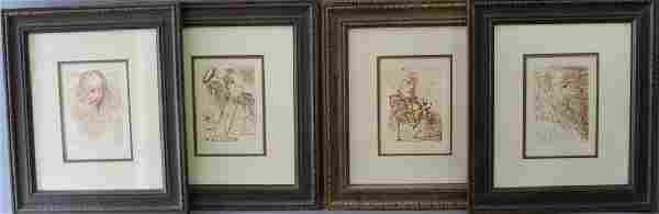 Group of Four Salvador Dali Etchings (after)
