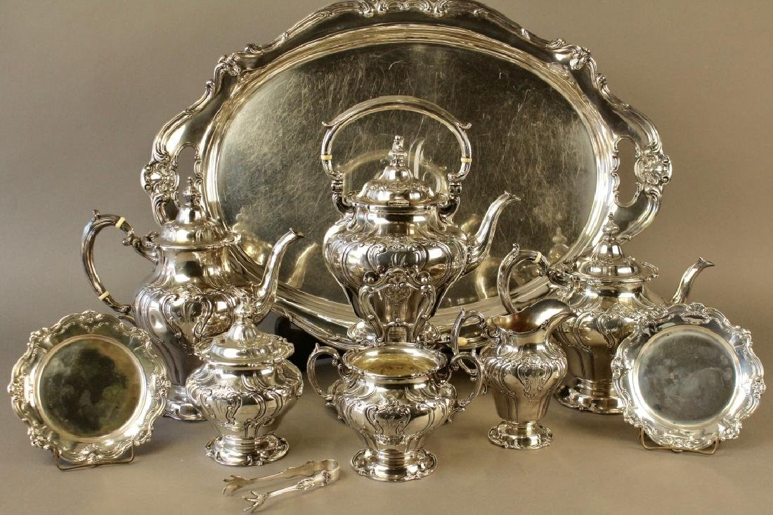 "Gorham ""Chantilly Duchess"" Sterling Tea Set"