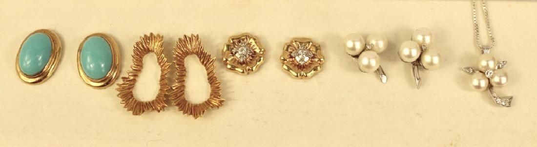 Group of 14K Pierced Earrings and Necklace