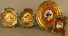 Group of Four Miniature Porcelain Plaques